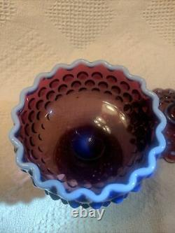 RARE Vintage Fenton Glass Plum Opalescent Hobnail Covered Candy Dish Gorgeous