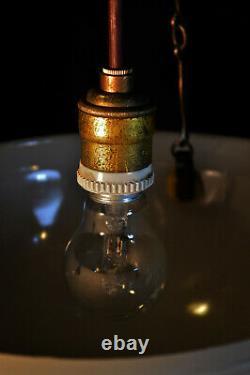 Rare 1930s Art Deco Opaline Jefferson moonstone milk glass pendant light fixture
