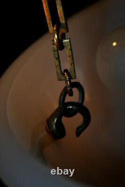 Rare 1930s Art Deco Opaline moonstone milk glass & bronze pendant light fixture
