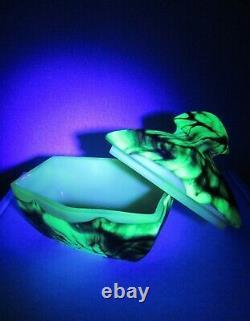 Rare Bohemian Uranium & Opalescent Glass Jewelry/ Trinket BOX ART DECO 1930s