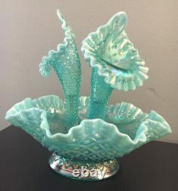 Rare Fenton Art Glass Aqua Opalescent Iridescent Diamond Lace Epergne Mint Cond