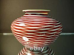 Rare Orient & Flume Burgundy Marbrie Vase withGreen Interior Scott Beyers C 1978