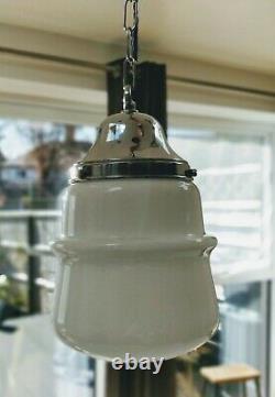 Rare Vintage Art Deco Opaline Glass Pendant Ceiling Light in Chrome