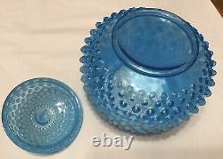 Rare Vintage Fenton Blue Opalescent Hobnail Covered Large Jar #389 1940-1943