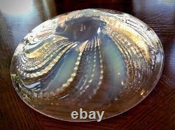 Rene Lalique Fleurons Shallow Opalescent Bowl 9.75 Signed R Lalique Mint