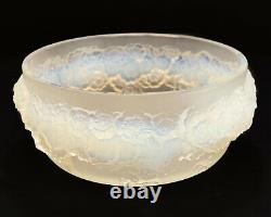 Rene Lalique France Opalescent Glass Bowl in Primeveres, Applied Florals. Signed