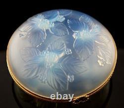 Sabino Paris France Opalescent Crystal Large Ormolu Hinged Box Berries & Leaves