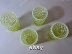 Set Of 4 Fenton Hobnail Topaz Opalescent Juice Tumblers Glow