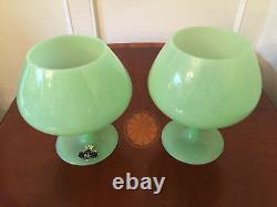 Set of 2 Vtg OPALINE VERITABLE 13 Jadeite Green Art-Glass Apothecary Candy Jars