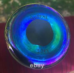 Steuben Art Glass bud vase, signed Aurene, opalescent blue, 6.5 inches