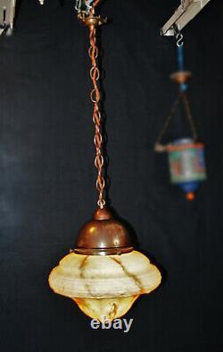 Stunning 1940s art deco large Opaline milk glass lantern light pendant plafonier