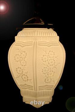 Stunning all original Austrian 1940 Art deco opaline glass ceiling light lantern