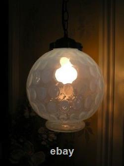 Unique Huge Vintage Antique Opalescent Coin Dot Glass Globe Hanging Light Fenton
