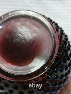 VINTAGE FENTON Art Glass Plum Opalescent Hobnail Pitcher & 6 Tumblers