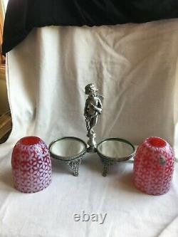 VTG Duel Fenton Cranberry Snowflake Opalescent Candle Lamps Angel Figural Stand