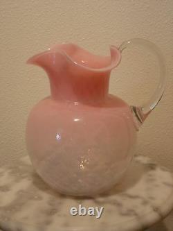 Victorian Antique Art Glass Webb Pink Opalescent Diamond Optic Water Pitcher