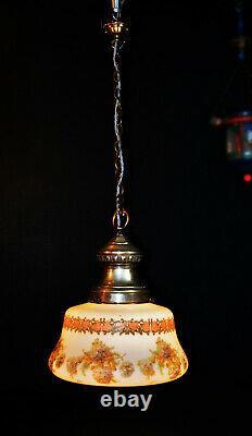 Vintage 1930s Art deco School house hand painted Opaline glass pendant light
