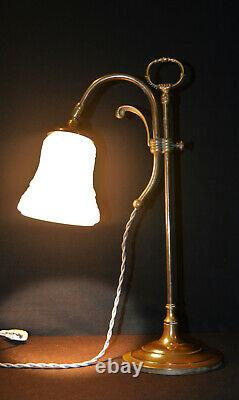 Vintage 1930s French art deco brass swan neck student lamp Opaline glass shade