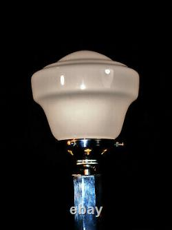 Vintage 1930s art deco chrome lamp Octagonal geometric design Opaline shade