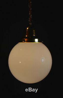 Vintage 1940s art deco school house large Opaline milk glass globe shade light