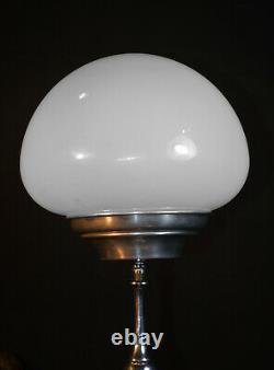 Vintage 1940s original art deco chrome plated & Opaline milk glass desk lamp