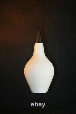 Vintage 1960s Jo Hammerborg Fog & Morup patterned white Opaline pendant light