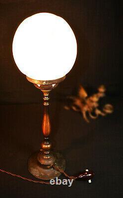 Vintage 19th C art & crafts cast bronze WAS Benson style lamp deco opaline globe