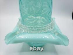 Vintage 3 Pc Fenton Glass Blue Opalescent Fern Fairy Lamp Light Marked Sticker