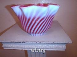Vintage FENTON Electric Lamp Cranberry Opalescent Swirl WithCast Iron Sconce