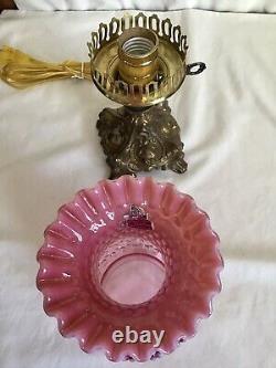 Vintage Fenton Art Cranberry Opalescent Hobnail Lamp A3