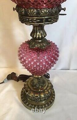 Vintage Fenton Art Glass Cranberry Opalescent Hobnail Lamp 2
