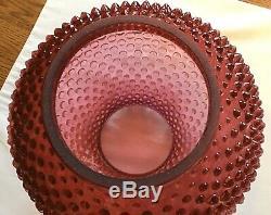 Vintage Fenton Art Glass Cranberry Opalescent Hobnail Lamp L9