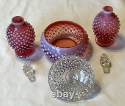 Vintage Fenton Art Glass Cranberry Opalescent Hobnail Powder Vanity Perfume Set