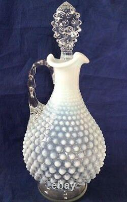 Vintage Fenton Art Glass French Opalescent Hobnail Decanter