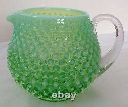 Vintage Fenton Art Glass Green Opalescent Hobnail Squat Pitcher