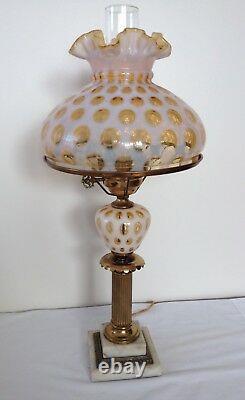 Vintage Fenton Art Glass Honeysuckle Opalescent Coin Dot Lamp