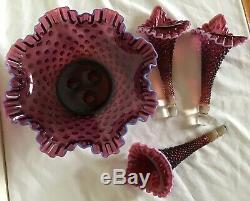 Vintage Fenton Art Glass Large Dark Plum Opalescent Hobnail Epergne N8