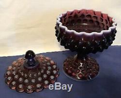 Vintage Fenton Art Glass Plum Opalescent Hobnail Covered Pedistal Candy Dish