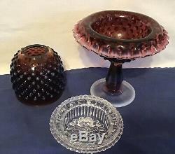 Vintage Fenton Art Glass Plum Opalescent Hobnail Fairy Lamp