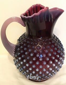 Vintage Fenton Art Glass Plum Opalescent Hobnail Ice Lip Pitcher