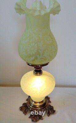 Vintage Fenton Art Glass Satin Topaz Opalescent Fern Daisy Lamp