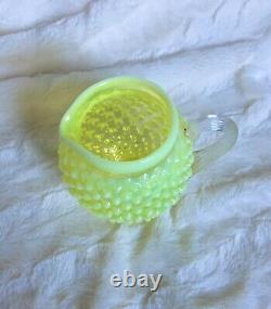 Vintage Fenton Art Glass Topaz Yellow Opalescent Hobnail Squat Pitcher