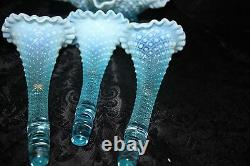 Vintage Fenton Blue Opalescent Diamond Lace Epergne