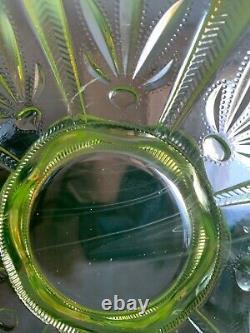 Vintage Fenton Cactus Vaseline Topaz Yellow Green Uranium Opalescent Basket