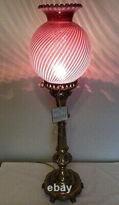 Vintage Fenton Cranberry Opalescent Spiral Optic Lamp