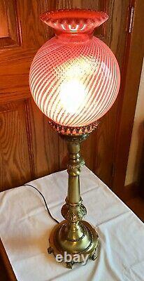 Vintage Fenton Cranberry Opalescent Spiral Optic Pillar Lamp