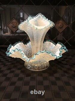 Vintage Fenton Epergne Diamond Lace Aqua Blue Crest French Opalescent 3 Horn