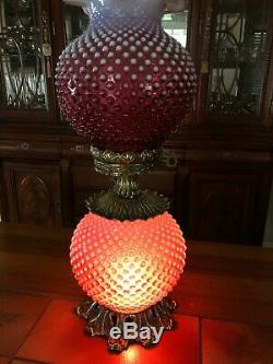 Vintage Fenton GWTW Cranberry Opalescent Hobnail Table Lamp, 24 1/2 Tall