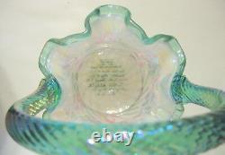 Vintage Fenton Glass Basket 90 Year Celebration Opalescent 8 to 9 inch Signed