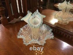 Vintage Fenton Hobnail Diamond Lace 3 Horn Large Glass Blue Opalescent Epergne